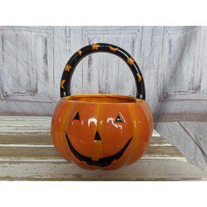 Kohls Halloween Ceramic Pumpkin Trick Or Treat Can